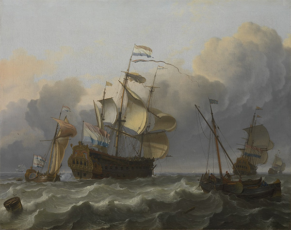 A Dutch Flagship with a Yacht Under Her Stern, 1694 | Bakhuysen | Giclée Canvas Print