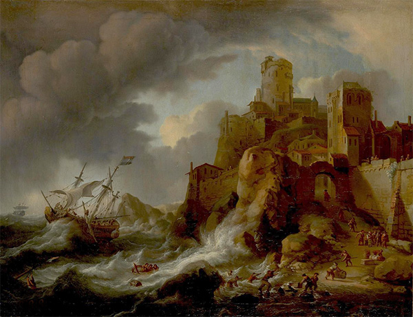 Shipwreck at Rocky Shore, Undated | Bakhuysen | Painting Reproduction