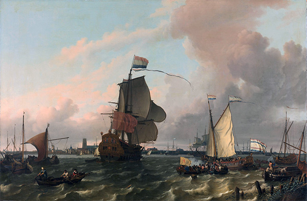 The Man-of-War Brielle on the River Maas off Rotterdam, 1689 | Bakhuysen | Giclée Canvas Print