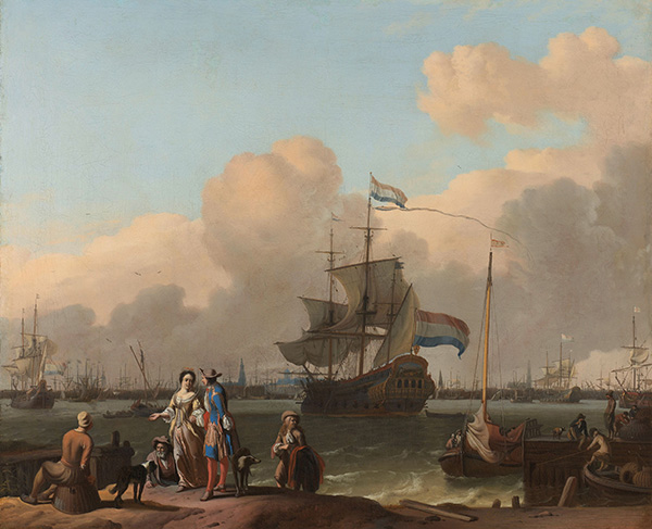 The Y at Amsterdam, with the Frigate De Ploeg, c.1680/08   Bakhuysen   Painting Reproduction