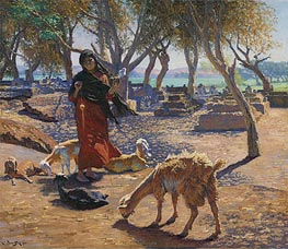 Ludwig Deutsch | The Young Goat Herder of Shobrah, Egypt | Giclée Canvas Print