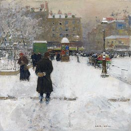 Luigi Loir | The Square du Temple, Paris in Winter, c.1970 | Giclée Canvas Print