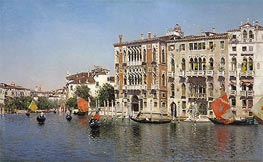 Martin Rico y Ortega | A View of Palazzo Cavalli and Palazzo Barbaro on the Grand Canal | Giclée Canvas Print