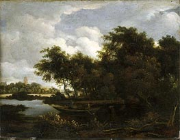 Meindert Hobbema | Landscape with a River, Undated | Giclée Canvas Print