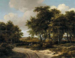 Meindert Hobbema | A Wooded Landscape with a Roadside Cottage | Giclée Canvas Print