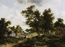 Meindert Hobbema | A Wooded Landscape with Travelers on a Path Through a Hamlet, c.1665 | Giclée Canvas Print