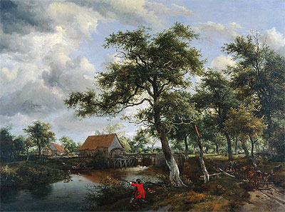 Wooded Landscape with Watermill, c.1665 | Meindert Hobbema | Giclée Canvas Print