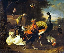 Melchior d'Hondecoeter | A Cockerel with other Birds | Giclée Canvas Print