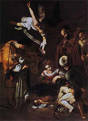 Nativity with Saints Lawrence and Francis, 1609 | Caravaggio | Painting Reproduction