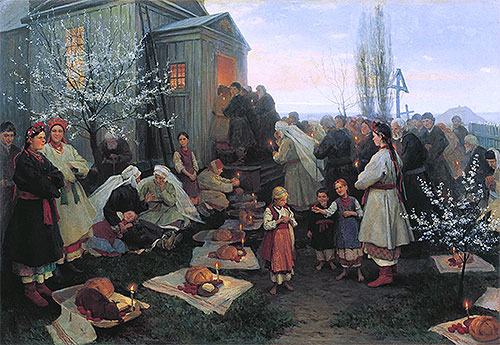 Easter Morning Prayer in Little Russia, 1891 | Mykola Pymonenko | Giclée Canvas Print