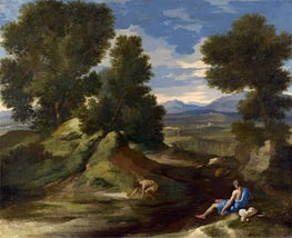 Nicolas Poussin | Landscape with a Man Scooping Water from a Stream, c.1637 | Giclée Canvas Print
