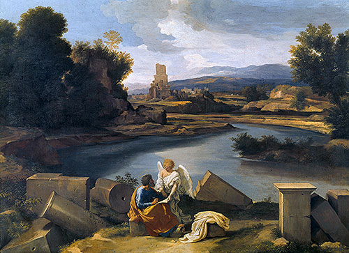 Roman Landscape with Saint Matthew and the Angel, c.1639/40 | Nicolas Poussin | Painting Reproduction