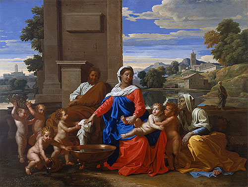 The Holy Family with the Infant Saint John the Baptist and Saint Elizabeth, c.1650/51 | Nicolas Poussin | Giclée Canvas Print
