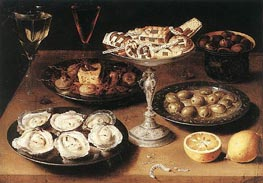 Osias Beert | Still-Life with Oysters and Pastries, 1610 | Giclée Canvas Print