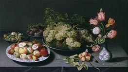 Osias Beert | Still Life with Apples, Grapes and a Vase of Flowers | Giclée Canvas Print