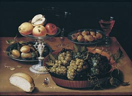 Osias Beert | Grapes in a Dish, Apples in a Silver Tazza, Hazelnuts and Medlars on Pewter Plates, Glasses and Bread Roll on a Wooden Table, undated | Giclée Canvas Print