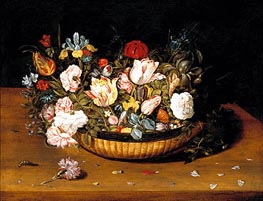 Osias Beert | Basket of Flowers, c.1615 | Giclée Canvas Print