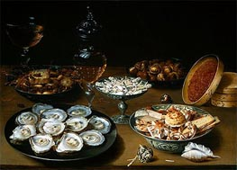 Osias Beert | Dishes with Oysters, Fruit and Wine | Giclée Canvas Print