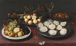 Osias Beert | Still Life of Fruit and a Plate of Oysters, Undated | Giclée Canvas Print