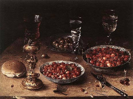 Still-Life with Cherries and Strawberries in China, 1608 | Osias Beert | Giclée Canvas Print
