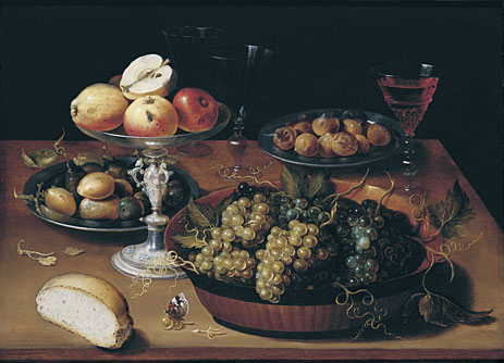 Grapes in a Dish, Apples in a Silver Tazza, Hazelnuts and Medlars on Pewter Plates, Glasses and Bread Roll on a Wooden Table, undated   Osias Beert   Giclée Canvas Print