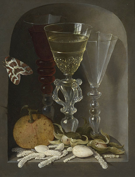 A Still Life of Three Wine Glasses, an Orange, Sweetmeats, Hazelnuts and a Moth in a Stone Niche, undated | Osias Beert | Giclée Canvas Print