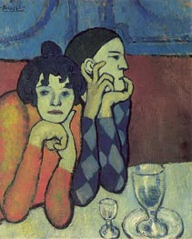 Picasso | Harlequin and His Companion (The Saltimbanque), 1901 | Giclée Canvas Print