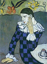 Picasso | Seated Harlequin, 1901 | Giclée Canvas Print