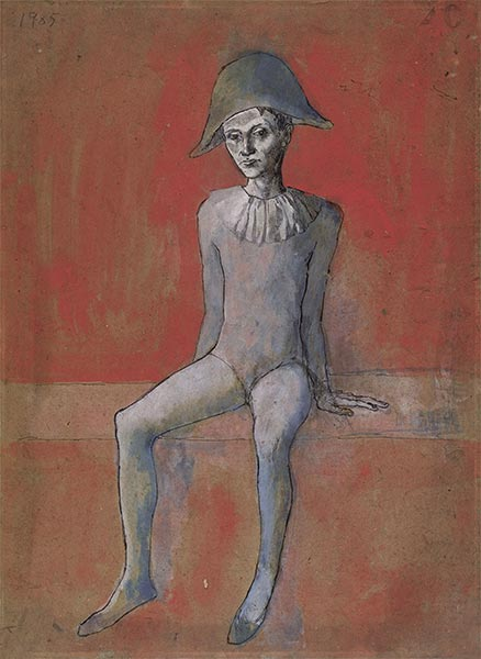 Harlequin sitting on red background, 1905 | Picasso | Painting Reproduction