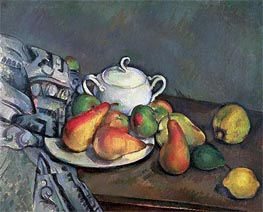 Cezanne | Sugarbowl, Pears and Tablecloth | Giclée Canvas Print