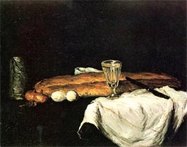Cezanne | Still Life with Bread abd Eggs, 1865 | Giclée Canvas Print