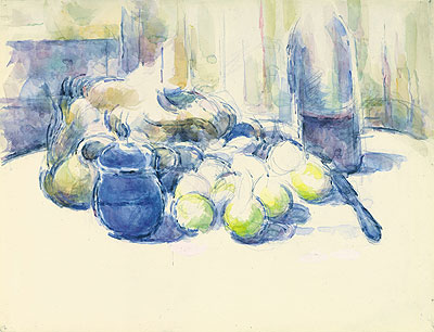 Still Life with Pears and Apples, Covered Blue Jar and a Bottle of Wine, undated | Cezanne | Giclée Paper Print