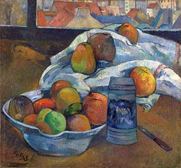 Gauguin | Bowl of Fruit and Tankard before a Window | Giclée Canvas Print
