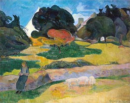 Gauguin | Girl Herding Pigs | Giclée Canvas Print