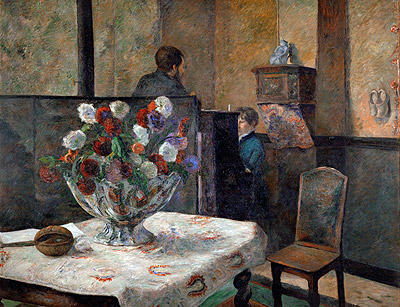 Still Life with Flowers (Interior of the Artist's Apartment on Rue Carcel, Paris), undated   Gauguin   Giclée Canvas Print
