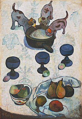 Still Life with Three Puppies, 1888 | Gauguin | Painting Reproduction