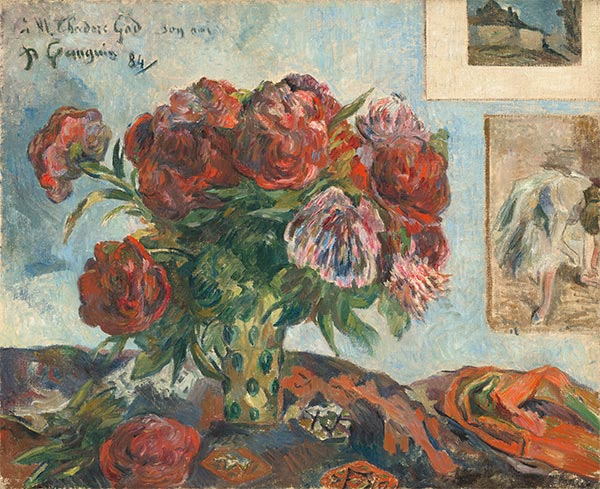 Still Life with Peonies, 1884 | Gauguin | Giclée Canvas Print