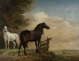 Paulus Potter | Two Horses in a Meadow near a Gate, 1649 | Giclée Canvas Print