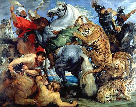 Tiger, Lion and Leopard Hunt, 1616 | Rubens | Giclée Canvas Print
