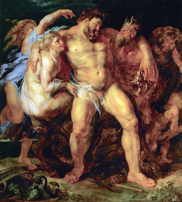 Drunk Hercules with Nymph and Satyr, c.1612/14 | Rubens | Painting Reproduction
