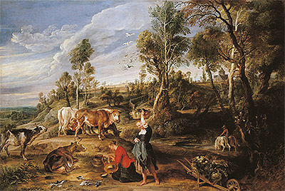 Milkmaids with Cattle in a Landscape (The Farm at Laken), c.1617/18   Rubens   Painting Reproduction