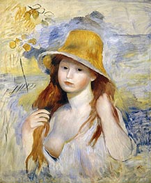Renoir | Young Girl with a Straw Hat, 1884 | Giclée Canvas Print