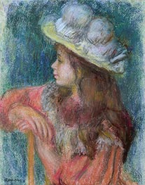 Renoir | Seated Young Girl in a White Hat, 1884 | Giclée Paper Print