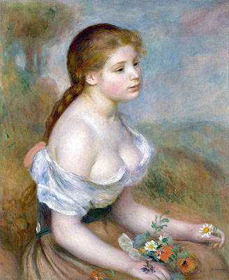 Renoir | Young Girl with Daisies, 1889 | Giclée Canvas Print