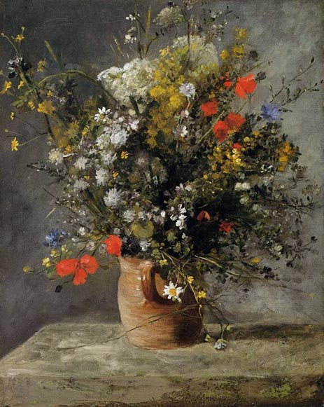 Flowers in a Vase, c.1866 | Renoir | Painting Reproduction