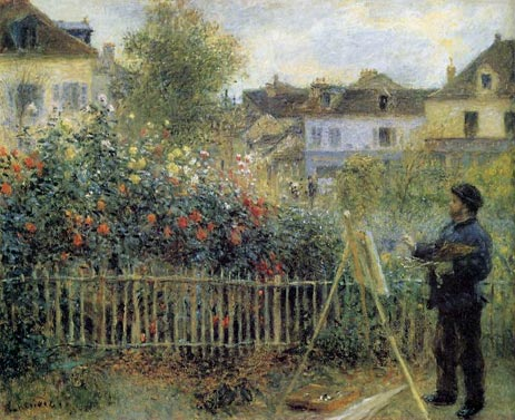 Claude Monet Painting in His Garden at Argenteuil, 1873 | Renoir | Painting Reproduction