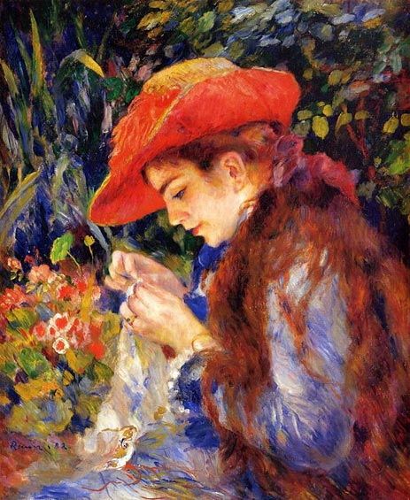 Mademoiselle Marie-Therese Durand-Ruel Sewing, 1882 | Renoir | Giclée Canvas Print