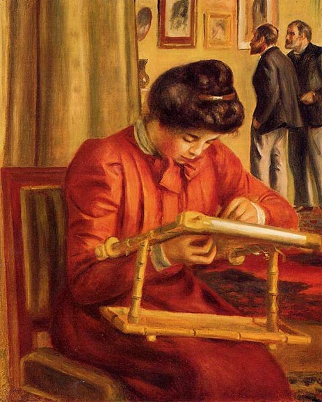 Christine Lerolle Embroidering, 1897   Renoir   Painting Reproduction