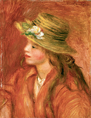 Young Girl in a Straw Hat, c.1908   Renoir   Giclée Canvas Print