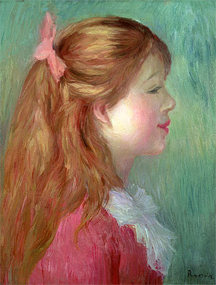 Young Girl with Long Hair in Profile, 1890 | Renoir | Giclée Canvas Print